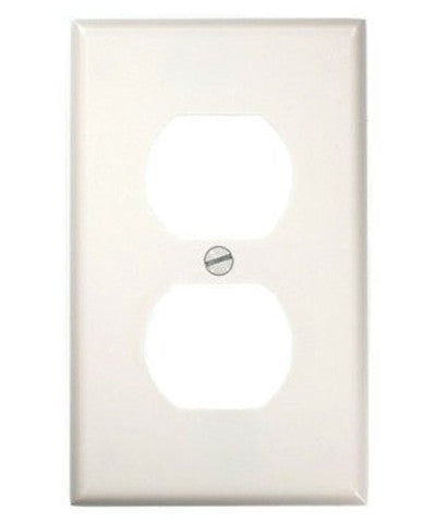 1-Gang Duplex Device Receptacle Wall Plate, Standard Size, Thermoset, Device Mount, White, 88003 - Leviton