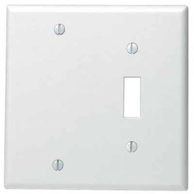 2-Gang 1-Toggle 1-Blank Device Combination Wall Plate, Standard Size, Thermoset, Box Mount, White, 88006 - Leviton