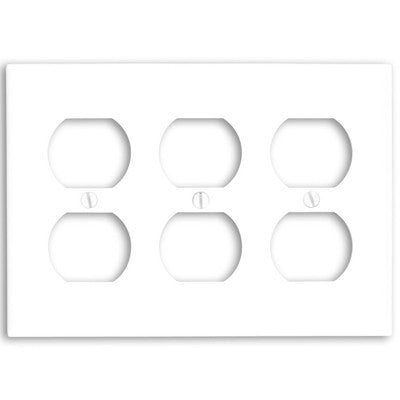 3-Gang Duplex Device Receptacle Wall Plate, Standard Size, Thermoset, Device Mount, White, 88030 - Leviton