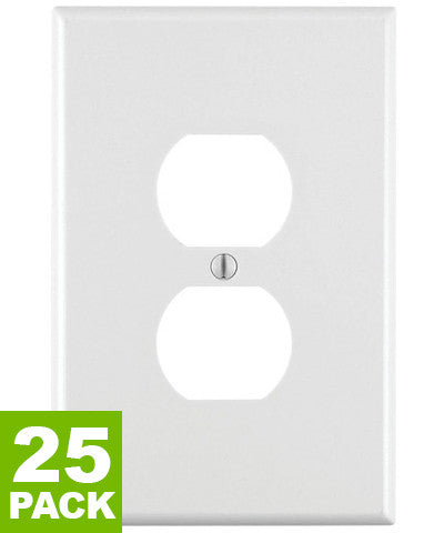 1-Gang Duplex Device Receptacle Wall Plate, Oversized, Thermoset, Device Mount, 25-Pack, 88103 - Leviton