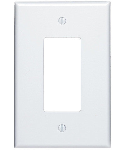 1-Gang Decora GFCI Device Decora, Wall Plate, Oversized, Thermoset, Device Mount, White, 88601 - Leviton