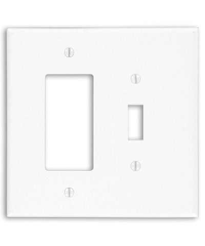 2-Gang, 1-Toggle 1-Decora/GFCI Device Combination Wall Plate, Oversized, White, 88605 - Leviton