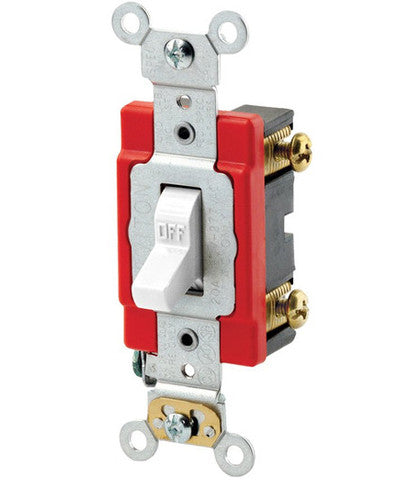 20-Amp, 120/277-Volt, Antimicrobial Treated Toggle, Standard Single-Pole AC Quiet Switch, A1221-2 - Leviton - 1
