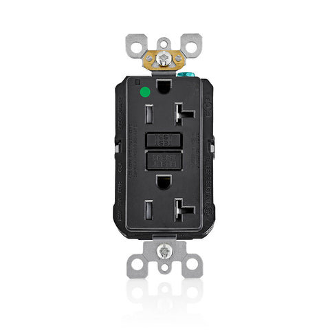AFCI Duplex Receptacle Outlet, Heavy-Duty Hospital Grade, Wallplate Included, Tamper-Resistant, 20 Amp, 125 Volt, Back or Side Wire, NEMA 5-20R, 2-Pole, 3-Wire, Self-Grounding - Black, AFTR2-HGE