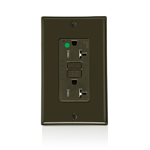 AFCI Duplex Receptacle Outlet, Heavy-Duty Hospital Grade, Wallplate Included, Tamper-Resistant, 20 Amp, 125 Volt, Back or Side Wire, NEMA 5-20R, 2-Pole, 3-Wire, Self-Grounding - Brown, AFTR2-HG