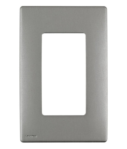 Renu 1-Gang Wall Plate in Stainless Steel, Screwless Snap-On, REWM1-STS - Leviton