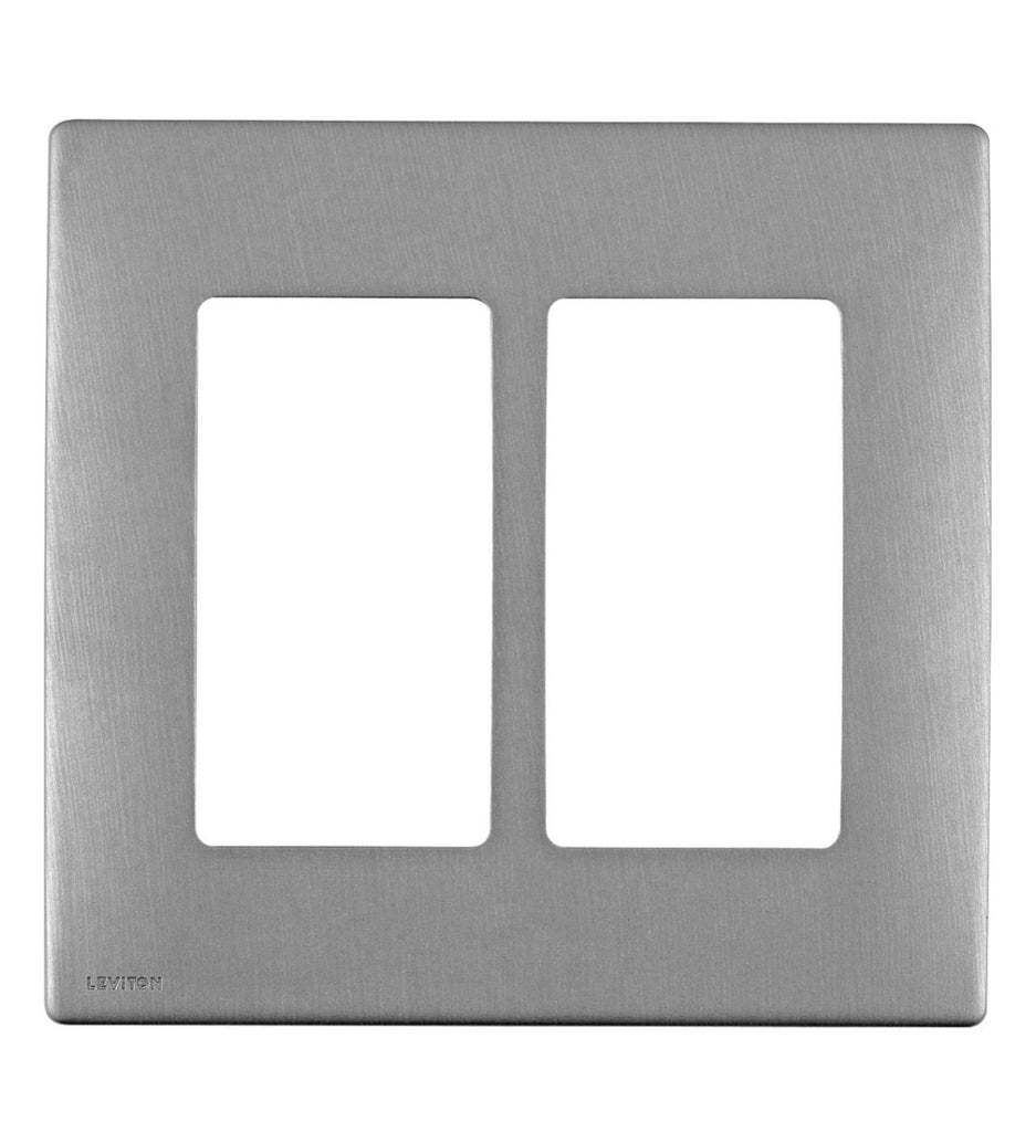 Renu 2 Gang Wallplate In Stainless Steel Screwless Snap