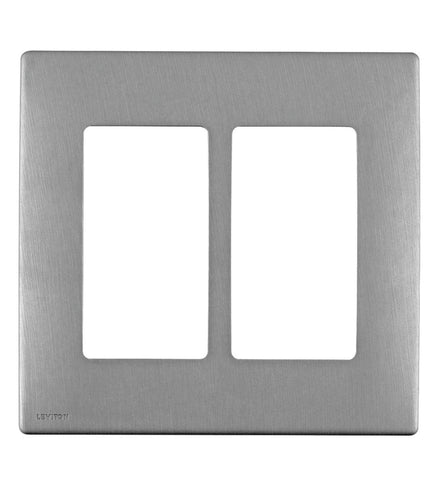 Renu 2-Gang Wall Plate in Stainless Steel, Screwless Snap-On, REWM2-STS - Leviton