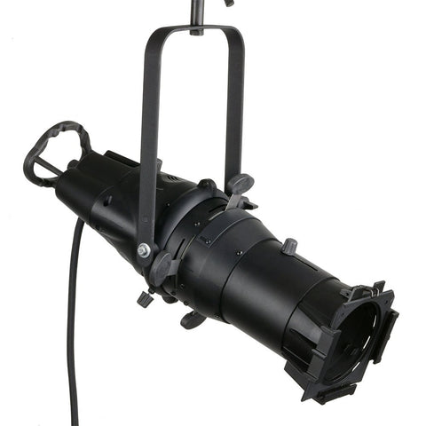 Ellipsoidal Spotlight, 50 Degree Beam Angle, LEO, Enhanced Performance Fixture, with C-Clamp, Color Frame, Cord And Bare Leads, Black, LEL50-B - Leviton