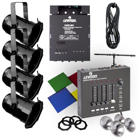 Lighting System, Par 38 Expansion Kit: (4) Par 38 Fixtures, D4DMX Dimmer Pack, T-Stand, and Accessories, HONEK-38 - Leviton - 1