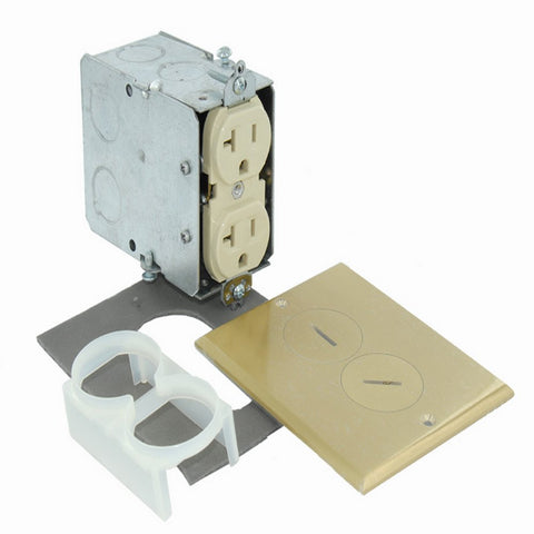 20-Amp, 125-Volt, Floor Mounting Duplex Receptacle, Straight Blade,  Commercial Grade, Self Grounding, Ivory, 25349-FBA