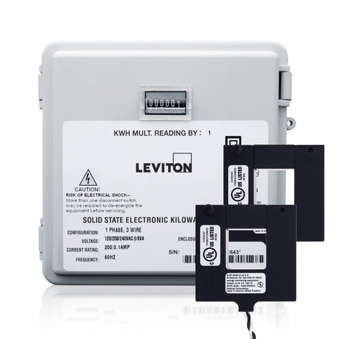 100-Amp Mini Meter Kit with 2 Split CT's, Outdoor Enclosure, MO240-1W - Leviton