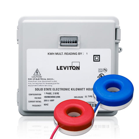 100-Amp Mini Meter Kit with 2 Solid CT's, Outdoor Enclosure, MO240-1SW - Leviton