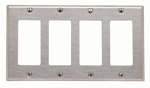 4-Gang Decora/GFCI Device Decora Wall Plate, Standard Size, Stainless Steel, 84412-40 - Leviton