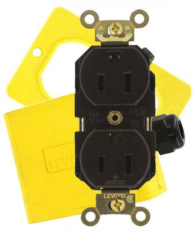 Portable Outlet Box, Coverplate and 15 Amp Receptacle Kit - Leviton - 4