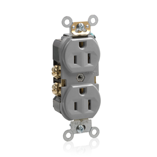 Duplex Receptacle Outlet, Commercial Specification Grade, Indented Face, 15 Amp, 125 Volt, Back or Side Wire, NEMA 5-15R, 2-Pole, 3-Wire, Self-Grounding - Gray, BR15-GY
