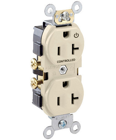 "20-Amp, 125-Volt, Marked ""Controlled"" Receptacle,  Spec Grade, Self Grounding, Ivory, CR020-1PI"