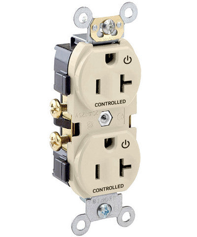 "20-Amp, 125-Volt, Marked ""Controlled"" Receptacle, Spec Grade, Self Grounding, Ivory, CR020-2PI"