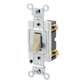 15 Amp, 120/277 Volt, Toggle Single-Pole AC Quiet Switch, Commercial Spec Grade, Grounding, Back & Side Wired, CSB1-15I