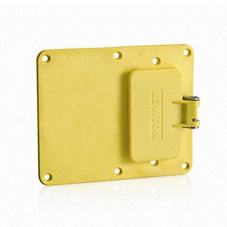 Two-Gang, 1-GFCI with Weather-Resistant Flip-Lid, 1-Blank Coverplate - YELLOW