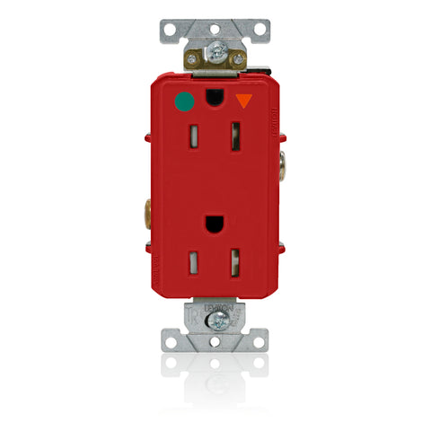 Decora Plus Isolated Ground Duplex Receptacle Outlet, Heavy-Duty Hospital Grade, Tamper-Resistant, Smooth Face, 15 Amp, 125 Volt, Back or Side Wire, NEMA 5-15R, 2-Pole, 3-Wire, Self-Grounding - Red, DT820-IGR