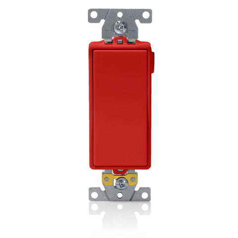 Lev-Lok Decora Plus Single-Pole Rocker Switch, Heavy-Duty Industrial Specification Grade, 20 Amp, 120/277 Volt AC, Modular, Self-Grounding - Red, M5621-R