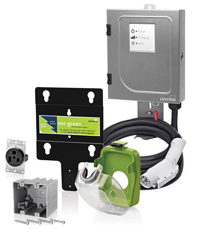 32-Amp Hardwired EVSE with 18-Foot EV Cable and EV Pedestal Mounting Pole/Base - Leviton