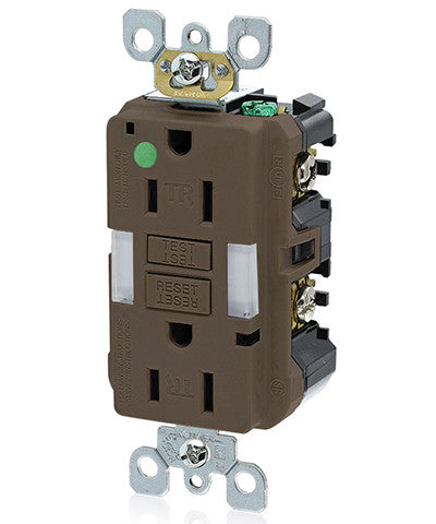 15 Amp, 125 Volt, Hospital Grade, Tamper-Resistant Guide Light Duplex Self-Test GFCI Receptacle, GFNL1-HG - Leviton - 1
