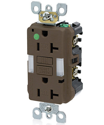 20 Amp, 125 Volt, Hospital Grade, Tamper-Resistant Guide Light Duplex Self-Test GFCI Receptacle, GFNL2-HG - Leviton - 1