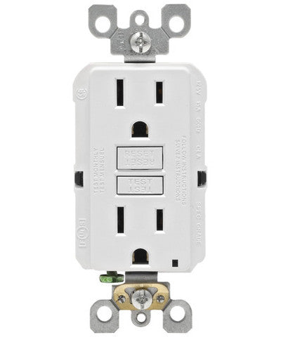 Self-Test SmartlockPro Slim GFCI Non-Tamper Resistant Receptacle with LED Indicator, 15-Amp, GFNT1 - Leviton - 1