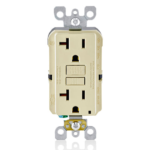 20 Amp, 125 Volt Receptacle/Outlet, 20 Amp Feed-Through, Self-test SmartlockPro Slim GFCI, monochromatic, Residential/Commercial applications, Ivory, GFNT2-I