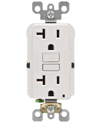 Self-Test SmartlockPro Slim GFCI Non-Tamper Resistant Receptacle with LED Indicator, 20 Amp, GFNT2 - Leviton - 1