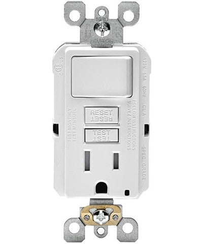 Self-Test SmartockPro Slim GFCI Combination Switch Tamper-Resistant Receptacle with LED Indicator, 15-Amp, GFSW1 - Leviton - 1
