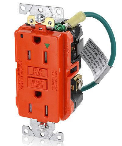 15 Amp, 125 Volt, Extra-Heavy Duty, Industrial Grade, Isolated Ground Duplex Tamper-Resistant Self-Test GFCI Receptacle, GFTR1-IGO - Leviton