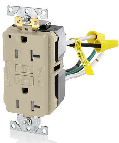 20 Amp, 125 Volt, Extra-Heavy Duty, Industrial Grade, Leaded Duplex Tamper-Resistant Self-Test GFCI Receptacle, GFTR2-5L - Leviton - 1