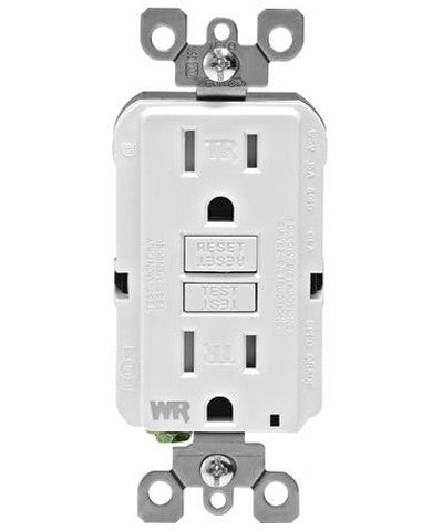 Self-Test SmartlockPro Slim GFCI Weather Resistant and Tamper Resistant Receptacle with LED Indicator, 15 Amp, GFWT1 - Leviton - 1