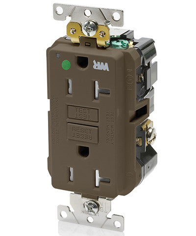 20 Amp, 125 Volt, Extra-Heavy Duty, Hospital Grade, Tamper/Weather-Resistant Duplex Self-Test GFCI Receptacle, GFWT2-HG - Leviton - 1