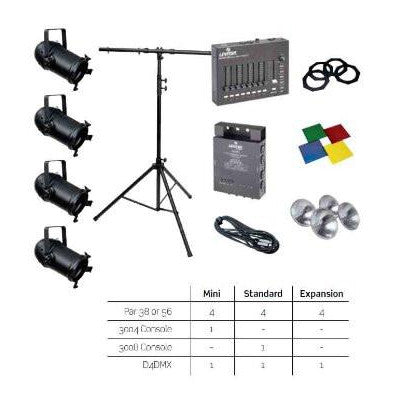 Lighting System, Par 38 Standard Kit: (4) Par 38 Fixtures, 3008 Series Control Console, D4DMX Dimmer Pack, T-Stand, and Accessories, HONSK-38 - Leviton - 1