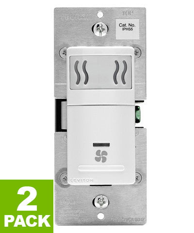 Humidity Sensor and Fan Control, Single Pole, 2-Pack, IPHS5 - Leviton - 1