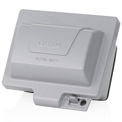 Extra Duty Outlet Hood, 1-Gang GFCI or Duplex Receptacle or Single Receptacle, Horizontal Mount, Gray, IUM1H-GY - Leviton