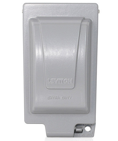 Extra Duty Outlet Hood, 1-Gang GFCI or Duplex Receptacle or Single Receptacle, Vertical Mount, Gray, IUM1V-GY - Leviton