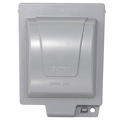Extra Duty Outlet Hood, 2-Gang GFCI or Duplex Receptacle or Single Receptacle, Vertical Mount, Gray, IUM2V-GY - Leviton