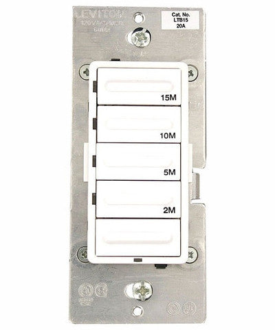 2-5-10-15 Minute Countdown Timer Switch, Preset, Decora 1800W Incandescent/20A Resistive-Inductive 1HP, LTB15-1LZ - Leviton