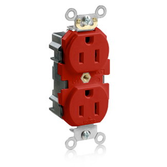 Lev-Lok Duplex Receptacle Outlet, Heavy-Duty Industrial Specification Grade, Smooth Face, 15 Amp, 125 Volt, Modular, NEMA 5-15R, 2-Pole, 3-Wire, Self-Grounding - Red, M5262-SR