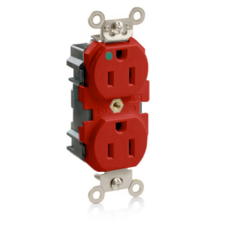 Lev-Lok Duplex Receptacle Outlet, Extra Heavy-Duty Hospital Grade, Smooth Face, 15 Amp, 125 Volt, Modular, NEMA 5-15R, 2-Pole, 3-Wire, Self-Grounding - Red, M8200-R