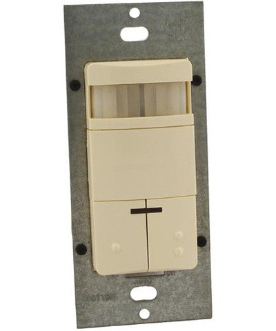 Dual-Relay, Decora Passive Infrared Wall Switch Occupancy Sensor, Auto or Manual-On, 180 Degree, 2100 sq. ft. Coverage, Title 24, Almond, ODS0D-TDA - Leviton