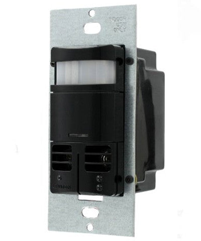 Dual-Relay Decora Wall Switch, Multi-Technology Occupancy Sensor, Black, OSSMD-MDE - Leviton