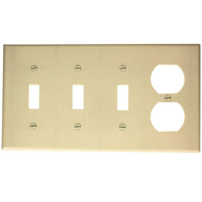 4 Gang 3 Toggle 1 Duplex Device Combination Wall Plate