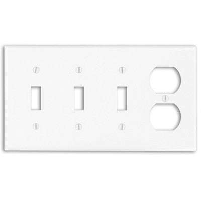 4-Gang, 3-Toggle, 1-Duplex Device, Combination Wall Plate, Standard Size, Device Mount, P38 - Leviton - 1