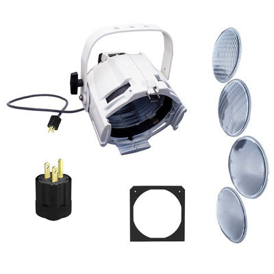 Multi-Lens PAR fixture, white, with 15A 5-15 PBG plug. Include C-clamp, color frame, and (4) lenses: VNSP,NSP, MFL, & WFL, PARML-PW - Leviton
